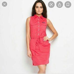 Columbia PFG Pink Polka Dot Shirt Dress XS